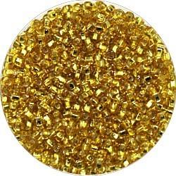 Rocailles 10/0 goudbruin square zilverkern 25gr.