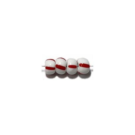 Glaskralen 5x7mm wit met rode streep 50gram