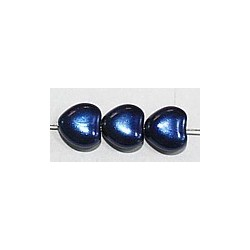 Glasparel 8mm hartvorm blauw 15st.
