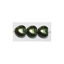 Glasparel 8mm hartvorm donkergroen 15st.