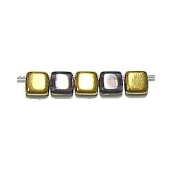 TILA kralen 6x6mm paars/goud 25st.