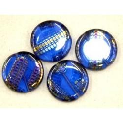Glaskraal 15mm rond transp blauw zilver rits 5st