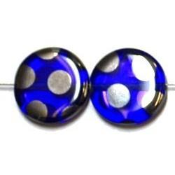 Glaskraal 15mm rond transp blauw zilver ringen 5st