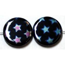 Glaskraal 17mm rond zwart extra AB sterren 5st