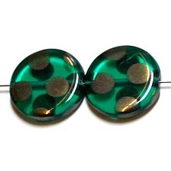 Glaskraal 17mm rond d.aqua chroom ringen 5st