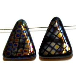 Glaskraal 15x20mm driehoek zwart brick AB 5st