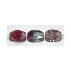 Glaskraal 5x7mm olijfvorm aqua/rood 20st