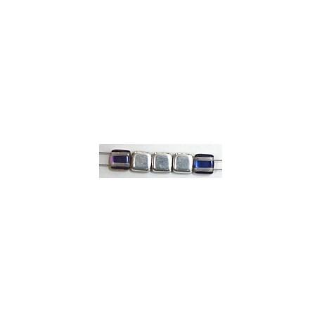TILA kralen 6x6mm crystal bermuda blue 25st.