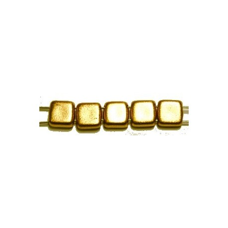 TILA kralen 6x6mm mat full yellow gold 25st.