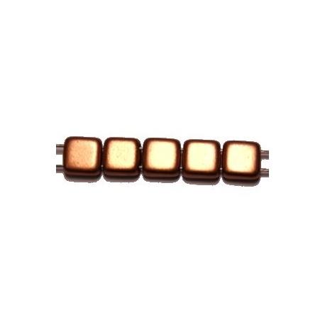 TILA kralen 6x6mm mat full red gold 25st.