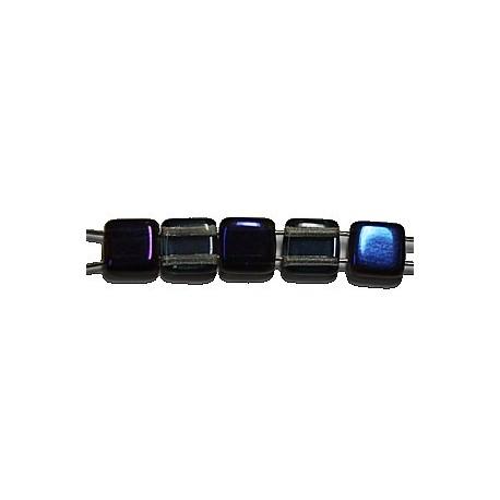 TILA kralen 6x6mm transp grijs/blauw azuro 25st.