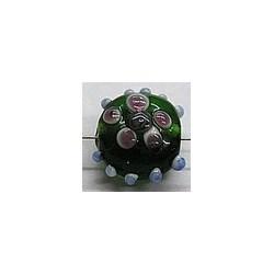 glaskraal 13x16mm groen/fuchsia 5 stuks