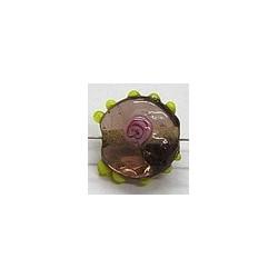 glaskraall 14x16mm amethyst m.roos 5 stuks