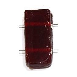 Glaskraal 11x24mm 2 gaats tr. rood 5st.