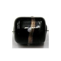 glaskraal ton 15x12mm zwart goudband stippen p.st