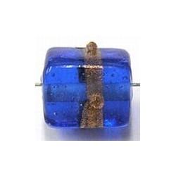 glaskraal kubus 13x10mm blauw goudband 2st