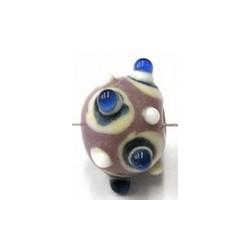 glaskraal pukkels 13mm lila/bl.witte ogen 5st