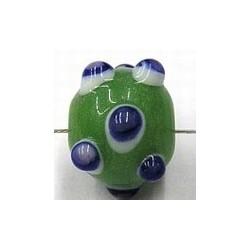 glaskraal pukkels 13mm groen bl/witte ogen 5st