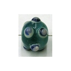glaskraal pukkels 13mm aqua bl/witte ogen 5st