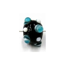 glaskraal rond 11mm zwart aqua/witte ogen 5st