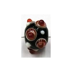 glaskraal rond 11mm d.rood rood/witte ogenn 5st