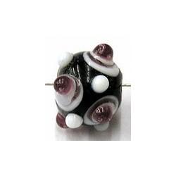 glaskraal rond 11mm zwart paars/witte ogen 5st