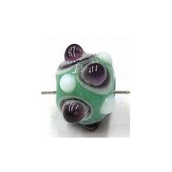 glaskraal pukkels 9mm groen lila/witte ogen 5st
