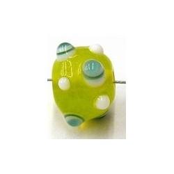 glaskraal pukkels 11mm geel aqua/witte ogen 5st