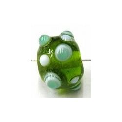 glaskraal pukkels 11mm groen wit/groene ogen 5st
