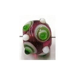 glaskraal pukkels 11mm rood groen/witte ogen 5st