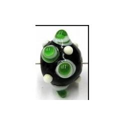 glaskraal pukkels 13mm zwart groen/witte ogen 5st