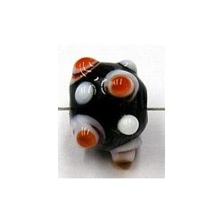 glaskraal pukkels 11mm zwart oranje/witte ogen 5st
