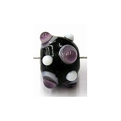 glaskraal pukkels 11mm zwart lila/witte ogen 5st