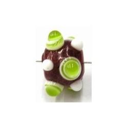 glaskraal pukkels 11mm rood lime/witte ogen 5st