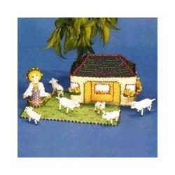 Boekje schapen met stal en herderin