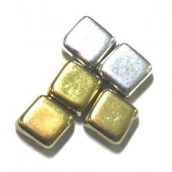 Silky beads 6mm geelgoud/zilver 25st.