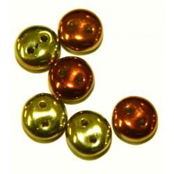 Two hole lentils 6mm geelgoud/roodgoud 50st.