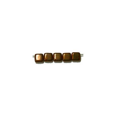 TILA kralen 6x6mm zwart chocobronze gecoat 25st.