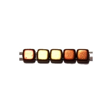 TILA kralen 6x6mm mat geelbruin / roodbruin 25st.