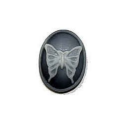 Camee 17x13mm zwart/wit vlinder p.st