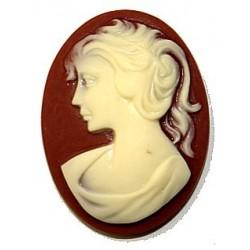 Camee 40x30mm roodbruin vrouwenhoofd creme p.st