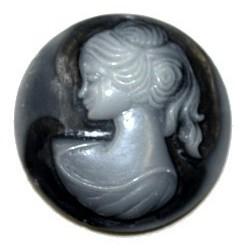 Camee 30mm rond zwart met tr.grijs vrouwhoofd p.st