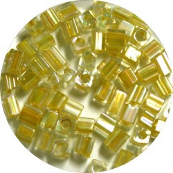 Glaskr. hex cut ca 3,5mm transp. geel 25gram