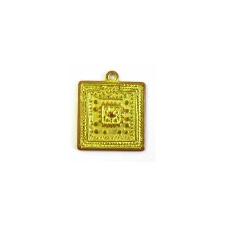 metalen hanger 38x32mm mat goudkl. per stuk