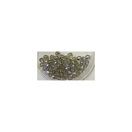 Facetkraal 3mm olijfgroen/ goud gecoat 50st