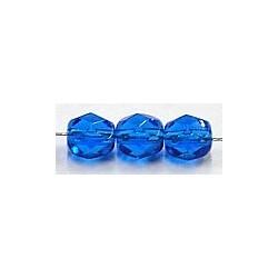 Facetkraal 6mm transp.kobaltblauw 25st.