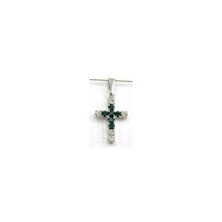 Kruisje 18x13mm zilverkl. kristal/groen