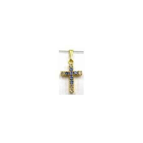 Kruisje 18x13mm goudkl. kristal/lichtblauw