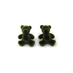 knoop teddybeer groen fluweel per stuk