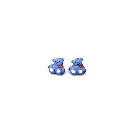knoop beertje blauw per stuk